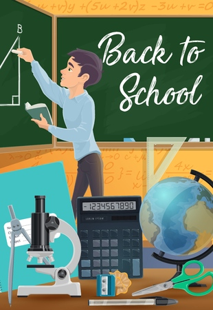 Student drawing geometric shape with chalk on chalkboard, back to school and education vector design. Cartoon boy, ruler and globe, notebook, pen and scissors, calculator, microscope and sharpener