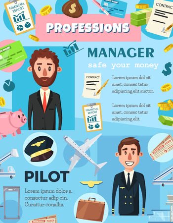 Pilot and manager professions in aviation and business industry. Vector people and professional work items, pilot crew or airport staff and flight attendant, company director or office worker  イラスト・ベクター素材