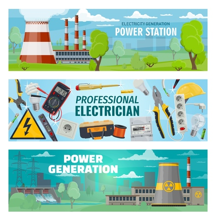 Power stations, energy generation and electrician engineer tools. Vector hydroelectric, nuclear and oil power plants, eco solar energy battery, electric voltage voltmeter, wire cutters and socket Vector Illustration