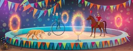 Arène de cirque, équilibriste acrobate sur roue de monocycle et animaux dressés. Cavalier ou dompteur et tigre de spectacle de cirque de grand sommet de vecteur avec des anneaux de feu et des boules de jonglage de singe