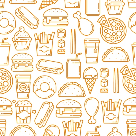 Fast food seamless pattern, thin line art background. Vector hot dogs, burgers or sandwiches and desserts, Mexican burrito, cheeseburger or hamburger and and fries pattern