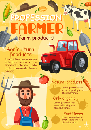 Farmer agronomist profession and tools. Vector cattle farm and agriculture equipment, harvesting tractor or corn and carrot vegetables harvest or farm products, cow and pitchfork Illustration