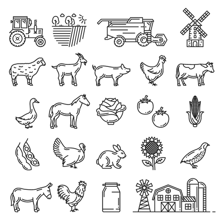 Agriculture farming, cattle farm and agrarian icons Vector isolated farmer harvesting tractor, wheat or rye barn mill, vegetables, cow or horse and sheep lamb or hen chicken and goose