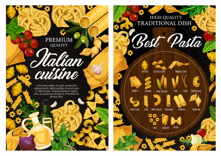 Italian cuisine pasta menu, traditional Italy restaurant. Vector fusilli, fettuccine or linguine, conchiglie or gnocchi and penne with cooking tomato and olive oil spices and herb ingredients Ilustracja