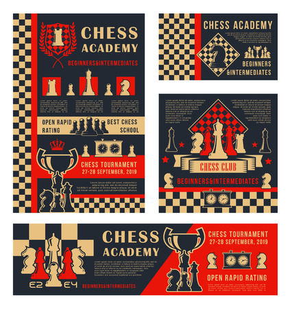 Chess sport tournament and school or academy championship banners. Vector chess leisure game pieces horse, rook and king crown on chessboard with score clock and victory cup
