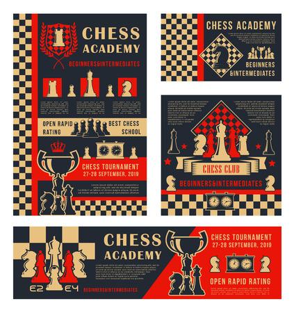 Tournoi sportif d'échecs et bannières de championnat d'école ou d'académie. Pièces de jeu de loisirs d'échecs vectorielles cheval, tour et couronne de roi sur l'échiquier avec horloge de score et coupe de la victoire