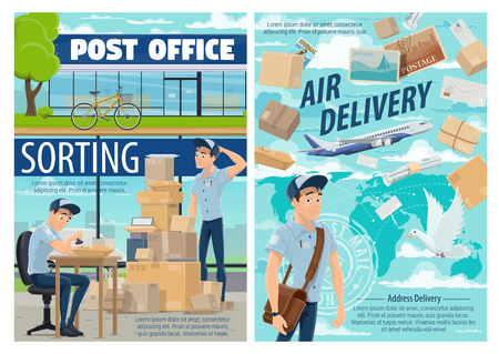 Mail delivery and post office postman. Vector mailman at sorting center with postage stamp, worldwide air delivery of parcels, envelopes and letters or correspondence journals Illustration
