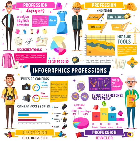 Fashion designer, photographer, construction engineer and jeweler professions infographic. Vector charts and diagrams of professional staff, building brickwork, photo journalist and tailor tools Illustration