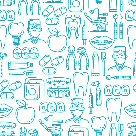 Dental medicine seamless patter. Vector background of dentistry line icons, dentist doctor with tooth implant, apple and smile or orthodontic braces and dental surgery equipment pattern Illustration