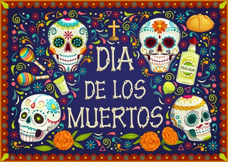 Dia de los Muertos Mexican holiday, Day of Dead celebration party. Vector Dia de los Muertos traditional calavera skull with floral pattern, tomb cross and ritual pie in marigold flowers frame