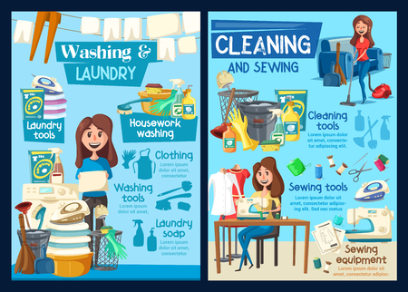 Home laundry washing, house cleaning and needlework service. Vector professional housekeeping, floor mopping or window glass polishing, washing machine and clothes ironing or clothes sewing Illustration