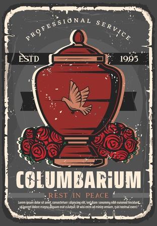 Bestattungsunternehmen Vintage Grunge Poster. Vektorkolumbarium, Feuerbestattungsurne und schwarzes RIP-Band, Taube und Leichenbestattungszeremonie Rosenkranz oder Blumenbündel Vektorgrafik