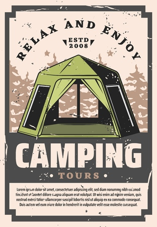 Camping travel tours and outdoor hiking trips grunge retro poster. Vector scout hikers camp tent in forest or mountains, sport and recreational tourism activity