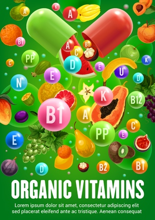 Fruits, healthy food with vitamins and minerals. Vector organic natural nutrition green detox orange citrus fruit, tropical exotic papaya, banana and kiwi, pear or mangosteen and grape