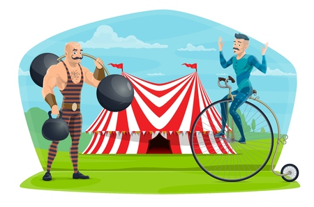 Circus performers muscleman and equilibrist show. Vector big top circus marquee tent, acrobat on unicycle and strong man with dumbbells and barbell Illustration