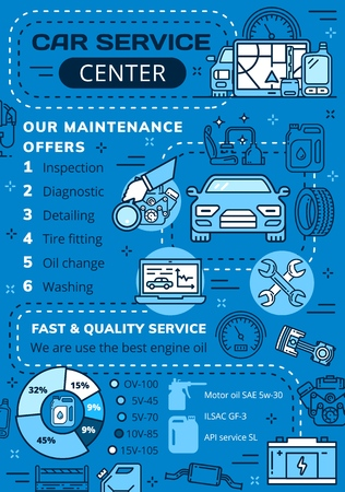 Auto service center poster, car diagnostics and repair station. Vector thin line spare parts inspection, detailing or tire fitting and oil change service, automobile washing and engine restoration