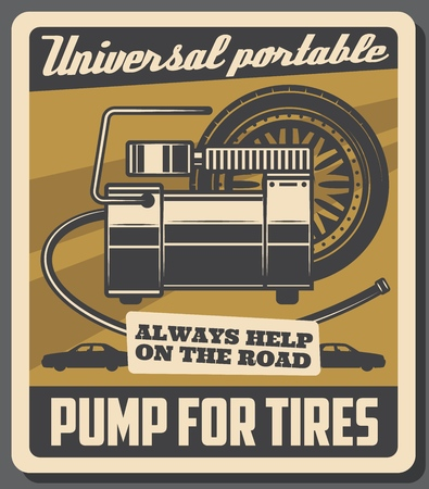 Car service and vehicles repair station retro poster. Vector automobile transport tires pumping, universal portable air pump, garage service and mechanic maintenance