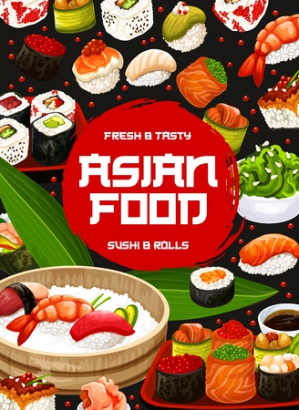 Japanese sushi and rolls menu, Asian cuisine restaurant. Vector sushi and maki rolls, wasabi, ginger and soy sauce, rice and tea, salmon sashimi or ebi temaki and gunkan roll with chuka seaweed salad Иллюстрация