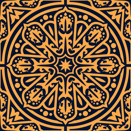 Arabic oriental ornament seamless pattern. Vector background of Arabian flourish ornament, abstract Eastern or Moroccan arabesque ornate flowery mosaic antique pattern in circle Illusztráció