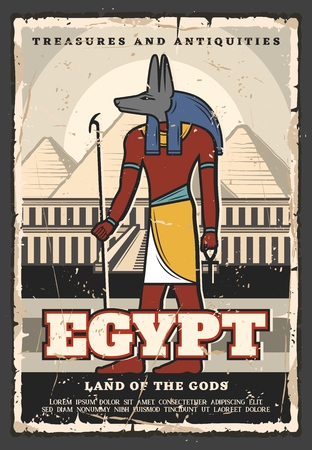Affiche vintage de voyages et de visites touristiques en Egypte. Voyages d'agence de voyages de vecteur, dieu égyptien antique d'Anubis et trésors de pyramides de pharaon du Caire