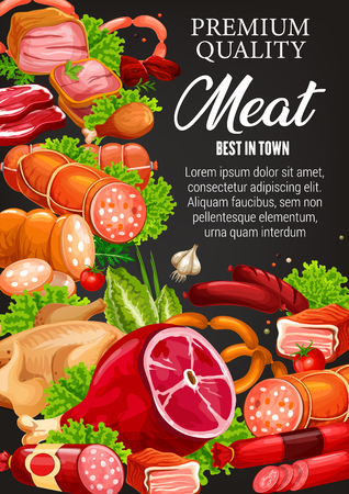 Gourmet sausages, butchery meat and smoked meaty products. Vector butcher shop food delicatessen, beef steak kotelet and chicken fowl, pork ham and veal medallions, salami and cervelat or mutton ribs