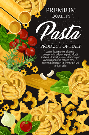 Homemade Italian pasta, premium restaurant menu. Vector traditional Italy pasta food fusilli, fettuccine or linguine, conchiglie or gnocchi and lasagna with tomatoes, cooking spices and herbs