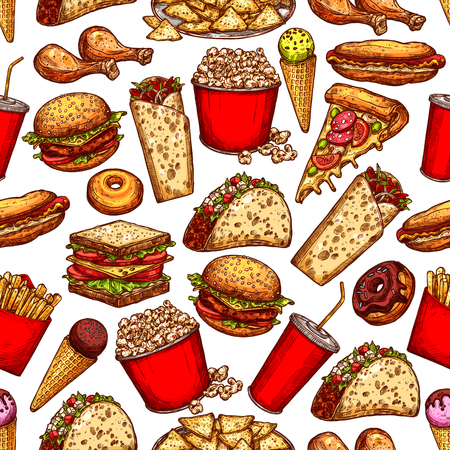 Fast food seamless sketch pattern. Vector fastfood background of hot dogs, burgers or sandwiches and ice cream desserts, Mexican burrito, cheeseburger or hamburger and and popcorn pattern Vector Illustration
