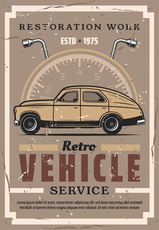Retro vehicles auto service and restoration station. Vector vintage grunge poster of old car, speedometer and lug wrench, tire and wheels replacement and diagnostic garage service