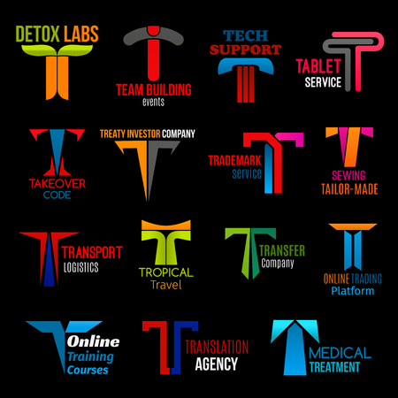 Corporate identity letter T icons, corporate business identity and company brand symbols. Vector T team building agency, tailor shop or travel and translation service, medical clinic and detox lab Stock Illustratie