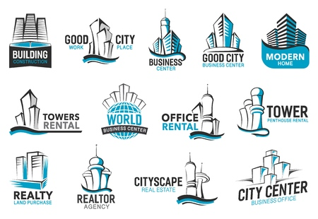 Building icons of real estate agency, construction corporation and business office rent company. Vector city houses, world trade centers and urban residential penthouses line signs