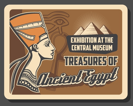 Egypt tourist landmark tours and historic museum vintage poster. Vector travel agency and culture sightseeing of Cairo and Giza pyramids, Nefertiti and pharaoh mummy Illustration