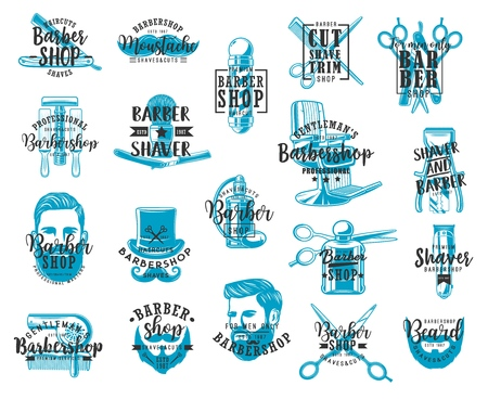 Barbershop lettering icons, mustaches and beard shaving salon signs. Vector calligraphy lettering, gentlemen baber shop or hipster hairdresser pole, razor scissors and trimmer or barbershop clipper