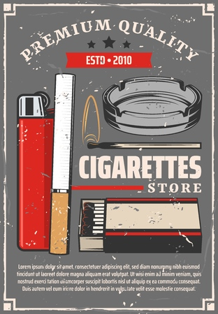 Cigarettes and tobacco store retro poster. Vector cigarettes with lighter and fire flame of match, ashtray and premium quality star ribbon label, tobacco production factory Illustration