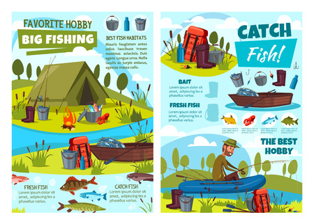 Fishing at lake, fisher tackles and lures or fish catch equipment. Vector fishing hobby adventure at river, fisherman in rubber boat with rod, net and camping tent, waders and bowler