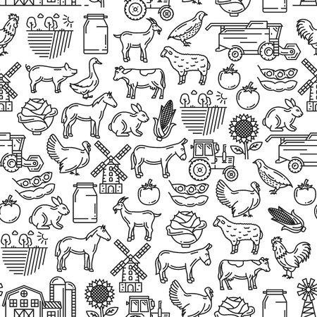Agriculture and cattle farm seamless pattern. Vector thin line art background of farmer tractor, cattle animals cow, horse or sheep and poultry hen or turkey, vegetables harvest and mill pattern