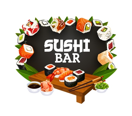 Sushi bar menu, Asian restaurant maki and rolls with chopsticks. Vector Japanese bento food salmon nigiri, squid maki and gunkan or hosomaki seafood sushi with soy and ginger or wasabi
