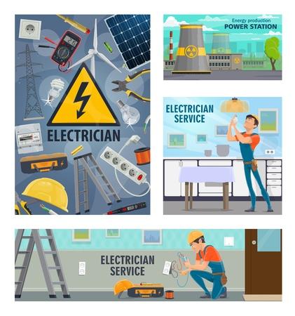 électricité et énergie, service de réparation d'électricien. Outils électriques vectoriels, testeur de tension, homme électricien avec ampoule ou prise électrique, centrale électrique et batterie solaire et voltmètre