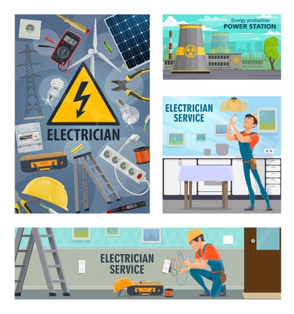 electric power and energy, electrician repair service. Vector electricity tools, voltage tester, electrician man with lamp bulb or electric socket, power station and solar battery and voltmeter Stockfoto - 121701139