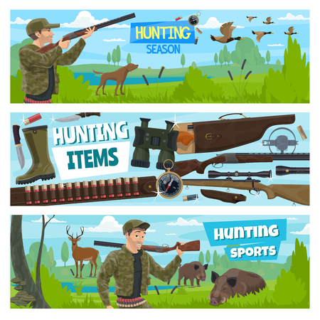 Hunter club open season, hunt animals and birds banners. Vector hunter with ammo equipment, rifle gun and bullets on cartridge belt or bandolier, wild boar, deer or ducks and hunting dog Ilustração