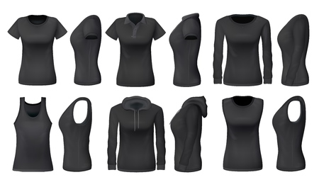 Women clothes and sportswear apparel mockups of t-shirts, sport tank tops and hoodies. Vector black womenswear casual polo or sleeveless shirt realistic models, blank front and side view Illustration