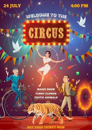 Spectacle d'animation de cirque, équilibriste et dompteur d'animaux. Arène de cirque chapiteau et artistes interprètes ou exécutants, tigre dans un anneau de feu, homme jonglant sur monocycle et femme sur trapèze à cerceau aérien