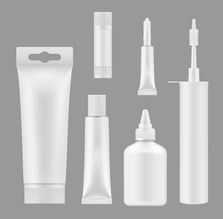 Glue tubes and sealant containers 3D white blank mockups. Vector isolated models silicon caulk foam cartridge and adhesive glue bottle or stick packages Illustration