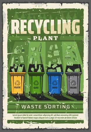 Manifesto dell'impianto di raccolta differenziata e riciclaggio dei rifiuti. Cestini per rifiuti vettoriali per la raccolta differenziata con vetro, carta o plastica e rifiuti domestici organici, ecologia verde e conservazione della natura