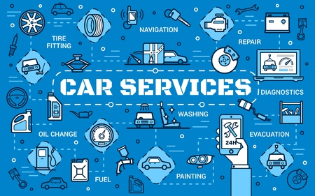 Auto service and car repair center thin line poster. Transport diagnostics, vehicle painting or washing and engine oil change station, navigation system installation and tire fitting Ilustração