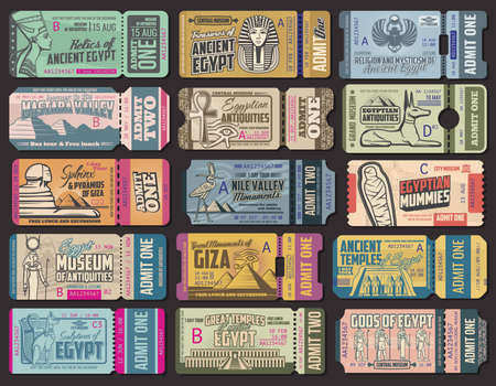 Ancient Egypt culture tickets to museum, antiquity shop or exhibitions. Vector vintage tickets with Egypt sphinx sightseeing, Giza pyramids tour or Pharaoh mummy history attractions travel trips