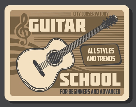 Guitar playing school for beginners and advanced skills. Vector retro vintage poster of musical education classes and music stringed instrument professional play in city musical conservatory Illustration