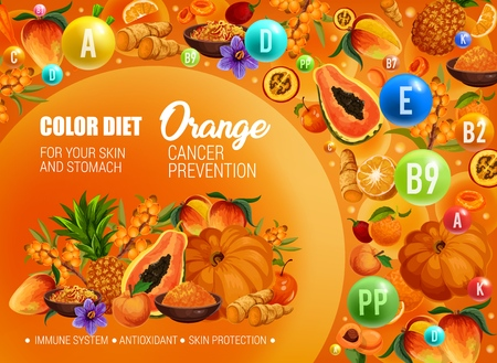 Color diet healthy nutrition, orange food vitamins and minerals. Vector natural organic fruits, berries and spices of orange color diet for cancer prevention, skin protection and antioxidants Standard-Bild - 121701145