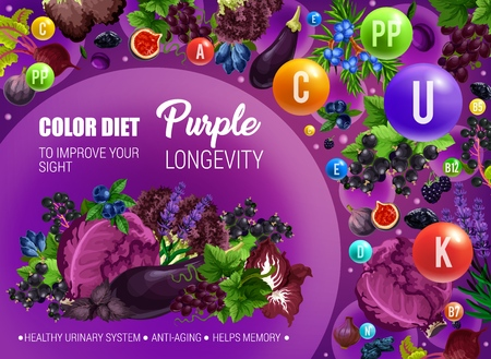 Color diet healthy nutrition, purple food vitamins and minerals. Vector natural organic fruits, berries and vegetables of purple color diet for sight improvement, anti-aging and urinary health Foto de archivo - 121701146