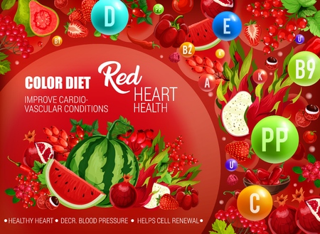 Color diet healthy nutrition, red food vitamins and minerals. Vector natural organic fruits, berries and vegetables of red color diet for heart cardiovascular health and cells renewal