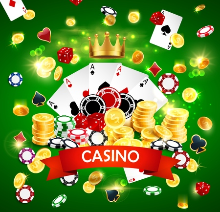 Casino poker poster with joker golden crown, sparkling golden coins win splash and gamble dice. Vector online Vegas casino wheel of fortune roulette with gambling card suits Vector Illustration